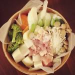照宝のせいろで、初のせいろ蒸しごはん。蒸し野菜・鶏と牡蠣がたっぷり食べられます